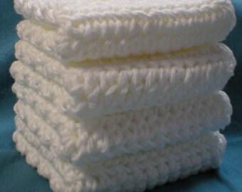 "Handmade Crochet Washcloths Dishcloths 4-Pk, White, 8"" (#5620)"