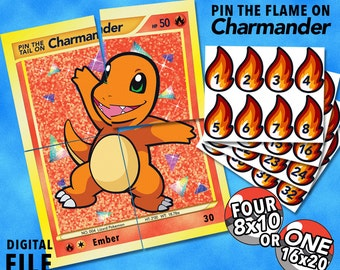 Pokemon Party Theme: Pin the Tail Flame on Charmander Party Game Digital File