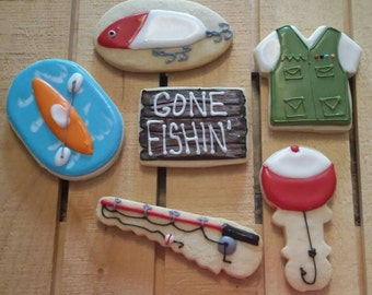 Camping, Fishing, Kayaking, Outdoor Cookies - One Dozen