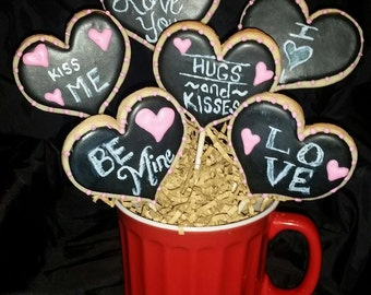 Chalkboard Hearts in a Large Soup Bowl - Half Dozen