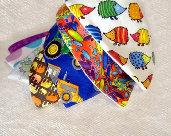 Baby Bandanna Dribble Bib Bamboo or Microfleece backing