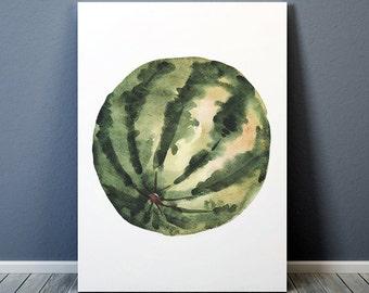 Watercolor print Watermelon poster Food print Kitchen art ACW811