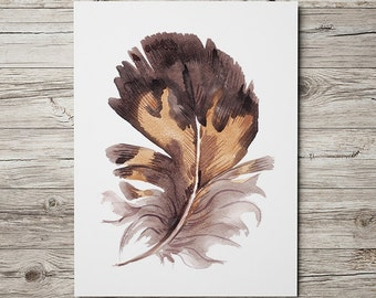 Feather print Feathers decor Watercolor poster Bird print ACW846