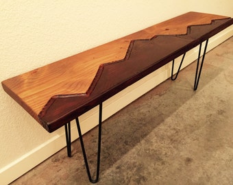 Modern Bench with Industrial Style Hairpin Legs