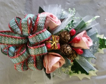 Coat Corsage - Pink with holiday ribbon
