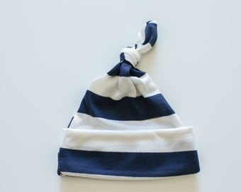 Knotted Baby Hat - Navy and White Stripes