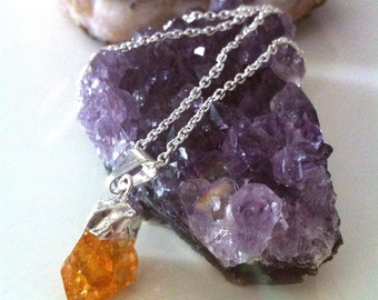 Raw citrine pendant on sterling silver chain