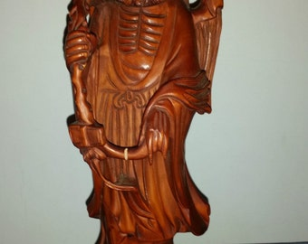 Very Beautiful and Large Chinese Hand Carved Boxwood Da Mo Statue - Mark