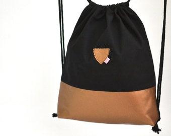 Gym Bag, Black/Copper, Festival Bag, Rucksack