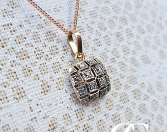 Victorian Inspired 9ct Rose Gold & Diamonds Square Pendant Necklace