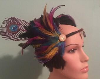 Rainbow feather headpiece