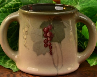 Weller Pottery Mug, 1898-1918 Grapes Eocean 2 Handle Mug Stein