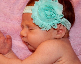 Mint Green Shabby Flower Headband