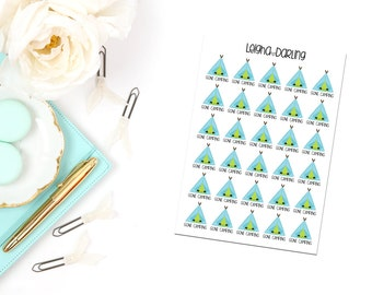 Kawaii Tent/Teepee/Camping Planner Stickers