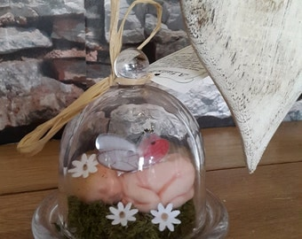 Hand Made woodland, forest or Flower Fairy in a small Glass Dome Terrarium. OOAK item.