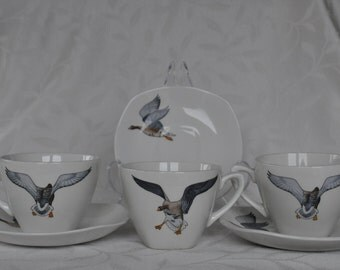 3 Midwinter Cups and Saucers Peter Scott  Wild Geese Stylecraft FREE SHIPPING