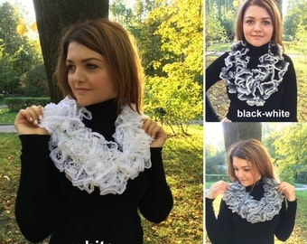 Handmade Knit Ruffle Scarf in Black, White and Gray