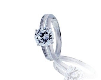 Solitaire Two Bands Engagement Ring - Size 6,8 (B22)