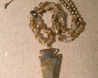Beaded Necklace/Boho Necklace/Arrowhead Necklace/ African bead Necklace/Ethiopian beaded Necklace