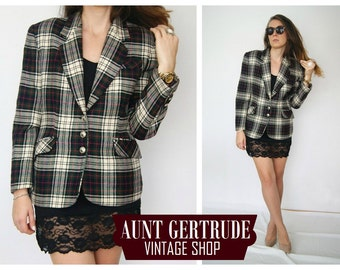 The original checkered jacket//tartan//80's//vintage tartan jacket//Scottish plaid//elegant jacket//tail-coat//retro//80's