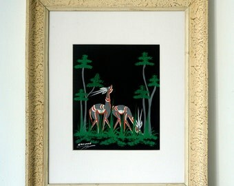 Art Deco Painting - Vintage 1930's Original Art Deco Deer Painting - Signed & Framed - Art Deco Wall Decor