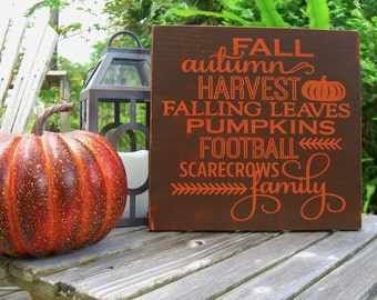 Fall Home Decor,Fall Decorations,Autumn Signs,Harvest Decor,Fall Signs,Thanksgiving Decor,Rustic Fall Decor,Football Signs,Family Sign