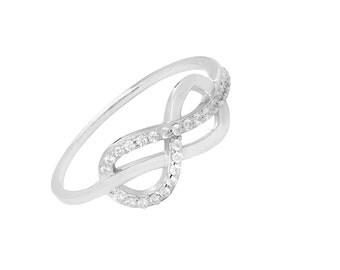 Swarovski Elements Infinity ring in sterling silver