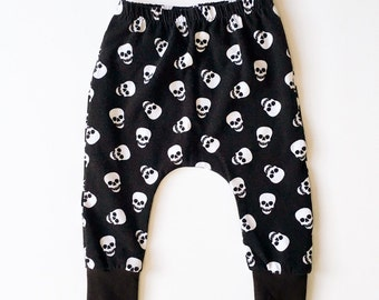 Baby Boy Skull Harem Pants, Toddler Boy Skull Leggings, Cloth Diaper Pants, Baby Halloween Pants, Hipster Baby Clothes