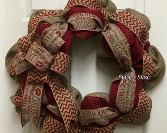 Love Wreath, Burlap Wreath, Heart Wreath, Front Door Wreath