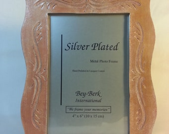 Carved Leather 4X6 Picture Frame Handmade