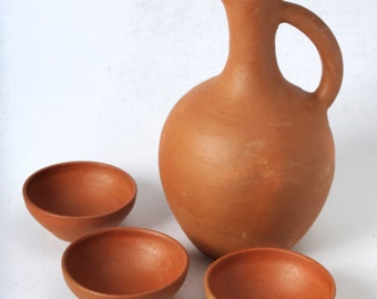 ceramic wine pitcher, clay water pitcher, clay wine bowl, red clay wine original cup FREE SHIPPING