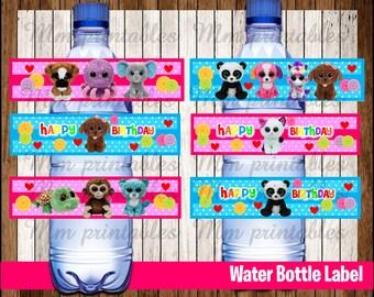 80% OFF SALE Beanie Boo's Water Bottle Label instant download, Printable Beanie Boo Water Bottle Label, Beanie Boo's Party Water Label