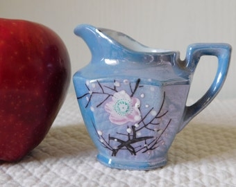Blue Lusterware hand-painted pitcher made in Japan
