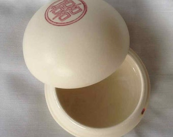 Vintage Mejiro Enterprises Ceramic Manapua Trinket Box - Made in Hawaii- 1988