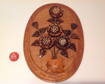 CLEARANCE SALE! Retro Funk Wooden Daisy Floral Wall Plaque