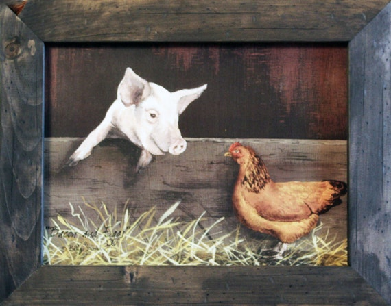 Commitment Chicken Pig Bacon Eggs: Bacon And Eggs Farm Decor Country Decor By RusticPrimitivesEtc