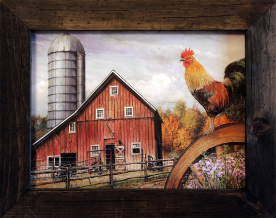 Rooster Decor, Farm Decor, Rooster Art, 15x19, Rooster Sign, Rustic Style, Wood Frame, Farm Sign