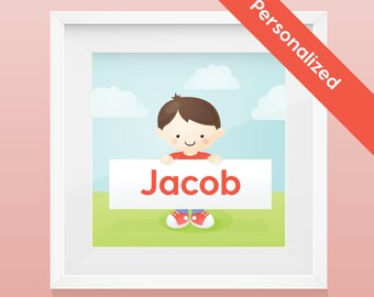 Personalized Child  Portrait - Boy -Art Print / Wall Art with name and image