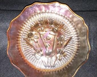 Beautiful Vintage Marigold Carnival Glass Saucer