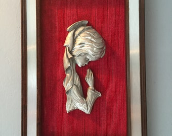 Vintage Pewter & Wood Picture of 'Young Girl at Prayer'