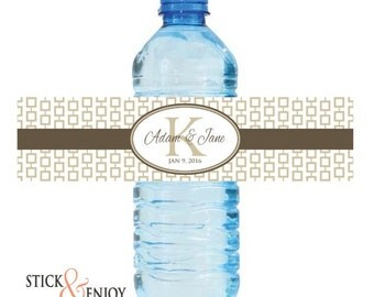 Custom Waterproof Water Bottle Labels, Self Adhesive Wedding Labels, Favor labels stickers