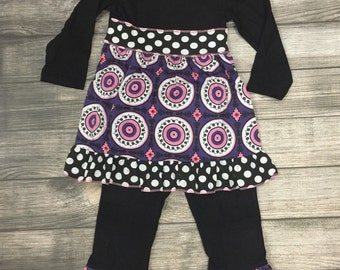 Little girl ruffle outfit with tunic lengh top and ruffle pants,  toddler boutique clothing, Easter outfit, Picture clothes