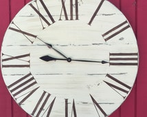 """Billericay oversized vintage style painted wood wall clock 22"""" to 48"""" round with oversized Roman numerals"""