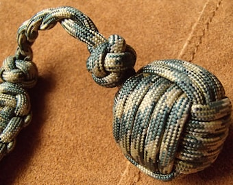 "Tactical Paracord Monkey's Fist with 1"" steel ball bearing and King Cobra stitch handle"