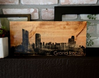 Grand Rapids Michigan Art, Wood sign, hand crafted