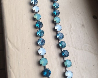 8.5mm Swarovski Crystal Necklace, Shades of Blue