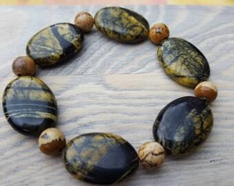 Yellow and black stone bracelet and Jasper bracelet