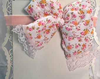 Victorian floral bow handmade headband