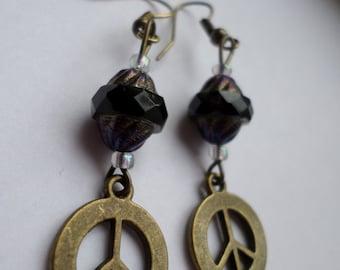 Rustic Peace Pendant Earrings