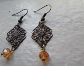 Rustic Webbed Pendant Earrings